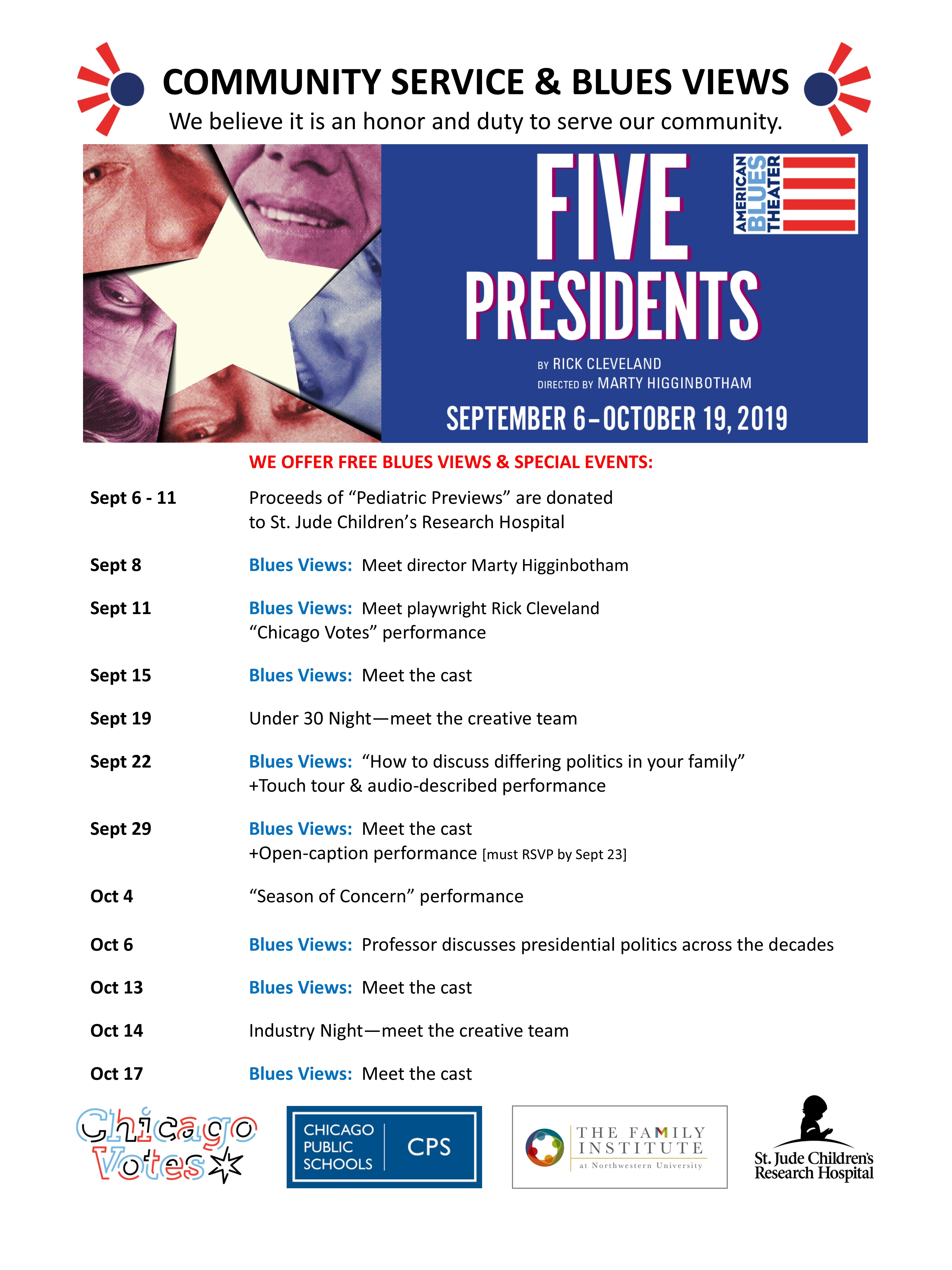 Community Service for FIVE PRESIDENTS - American Blues Theater
